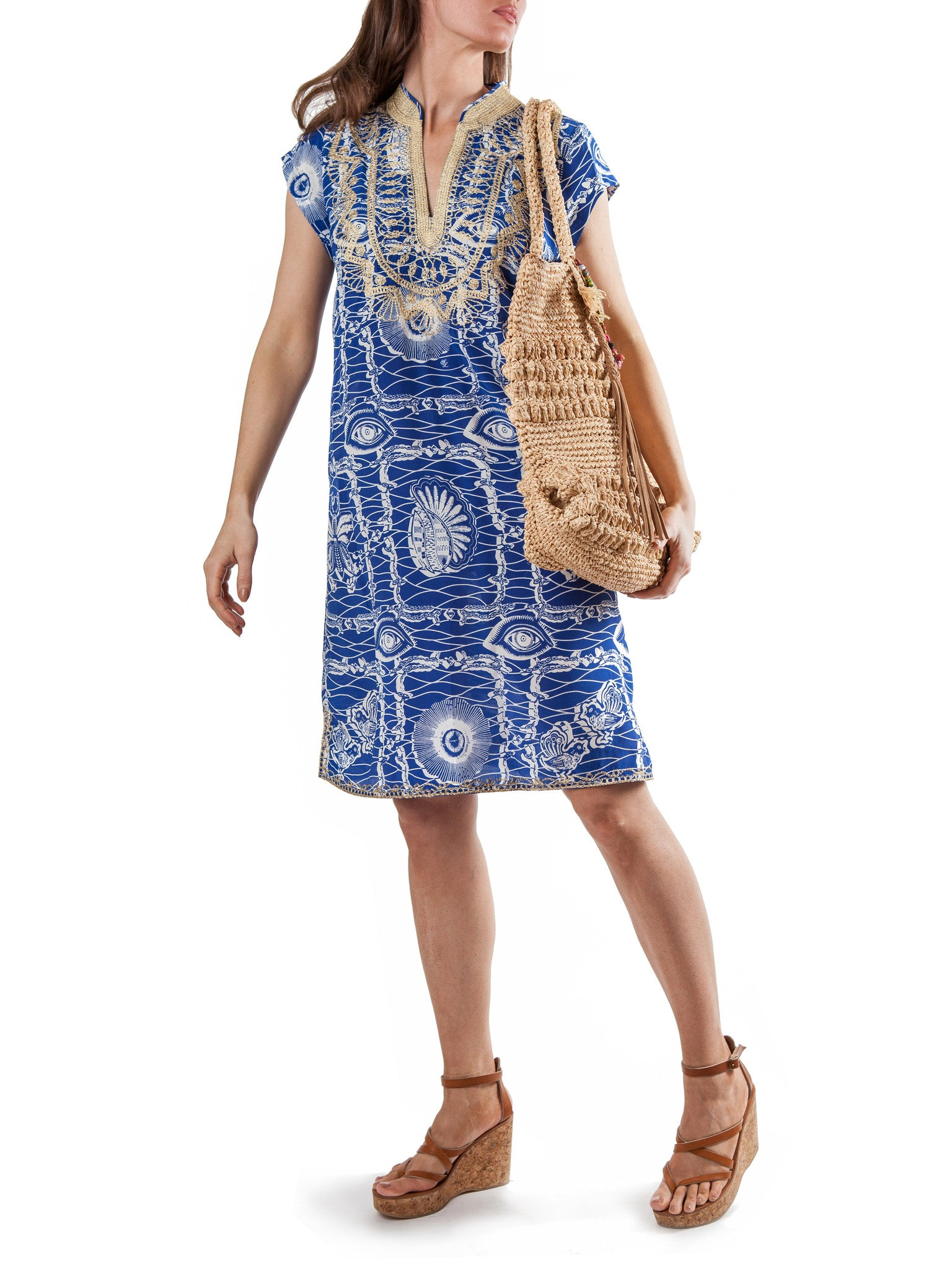 Printed tunic dress | Silk Embroidered Crepe de Chine