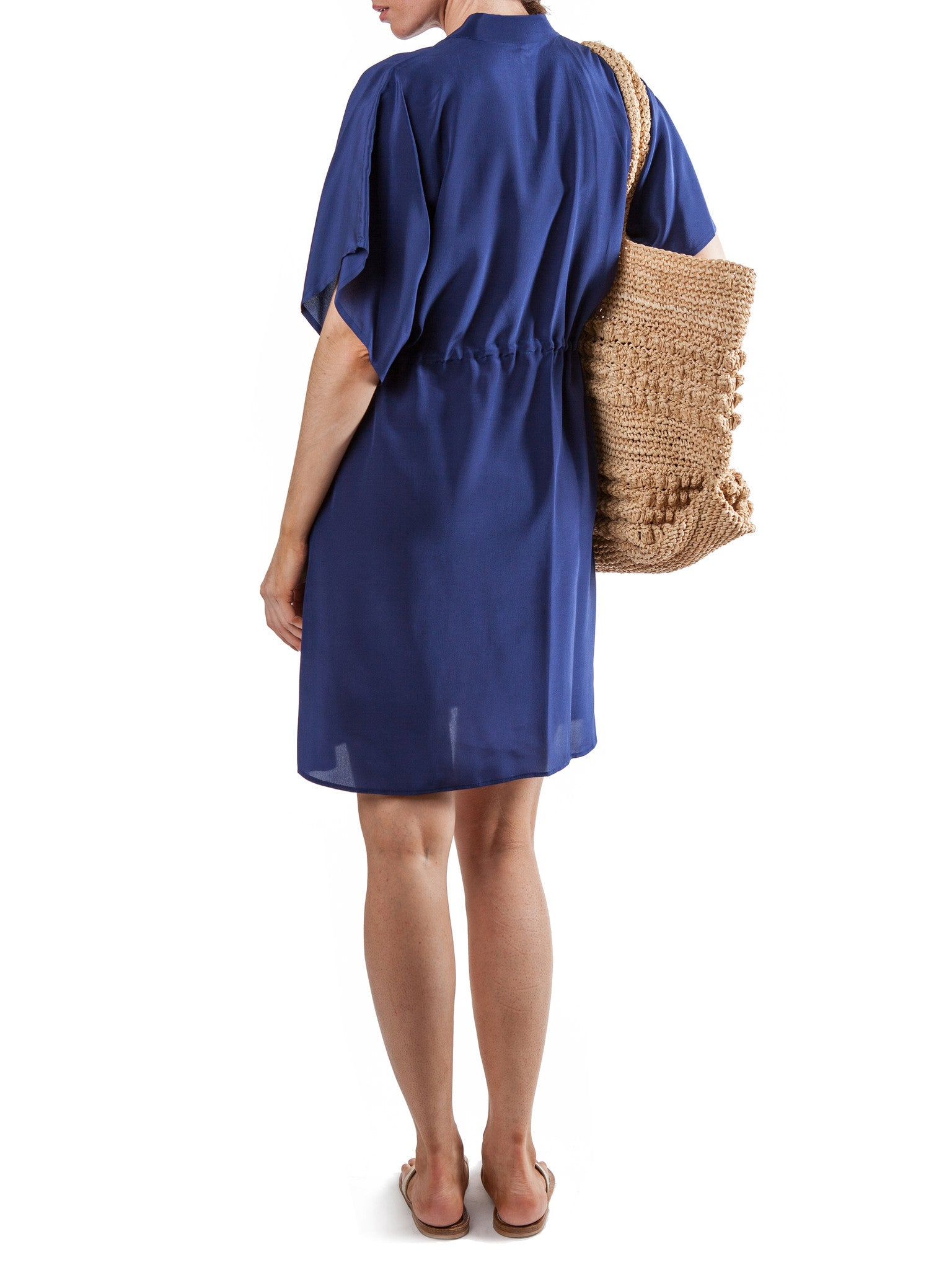 Navy short dress | Silk Crepe de Chine