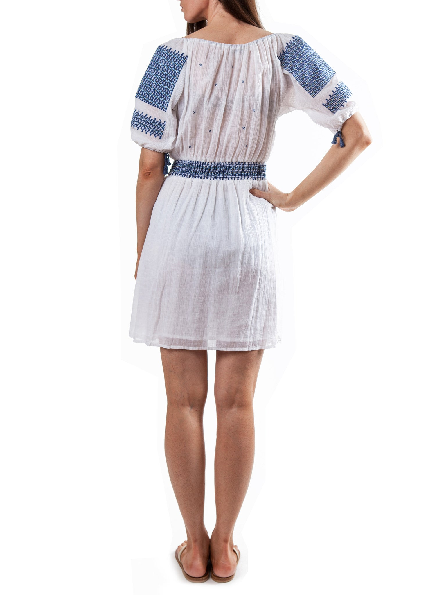 White/Blue embroidery dress | Cotton Voile