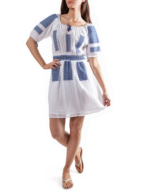 <b>White/Blue embroidery dress</b><br><i>Cotton Voile</i>