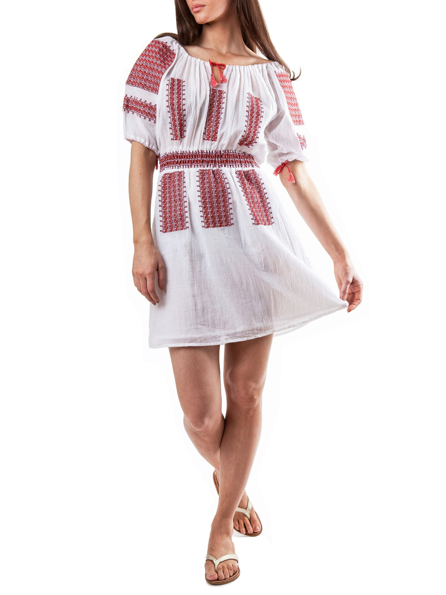 <b>White/Red embroidery dress</b><br><i>Cotton Voile</i>