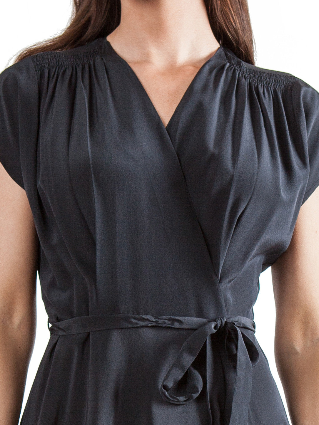 <b>Black wrap long dress</b><br><i>Silk Crepe de Chine</i>