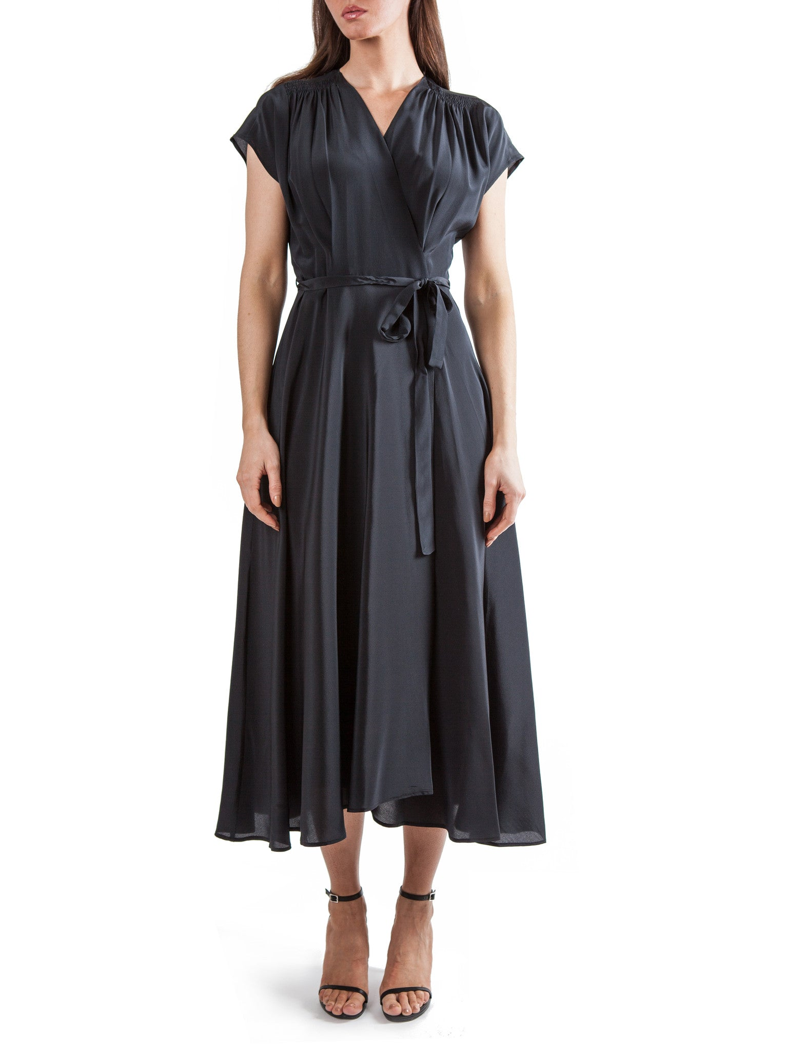 Black wrap long dress | Silk Crepe de Chine