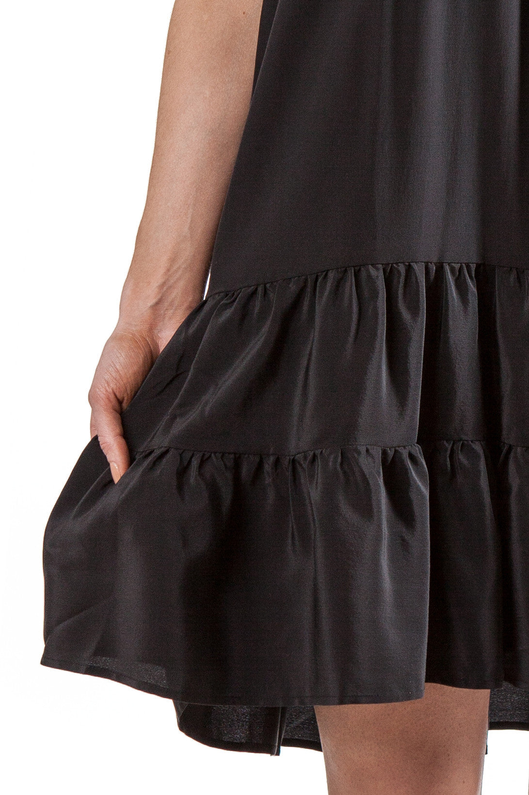 Black short ruffled dress | Silk Crepe de Chine
