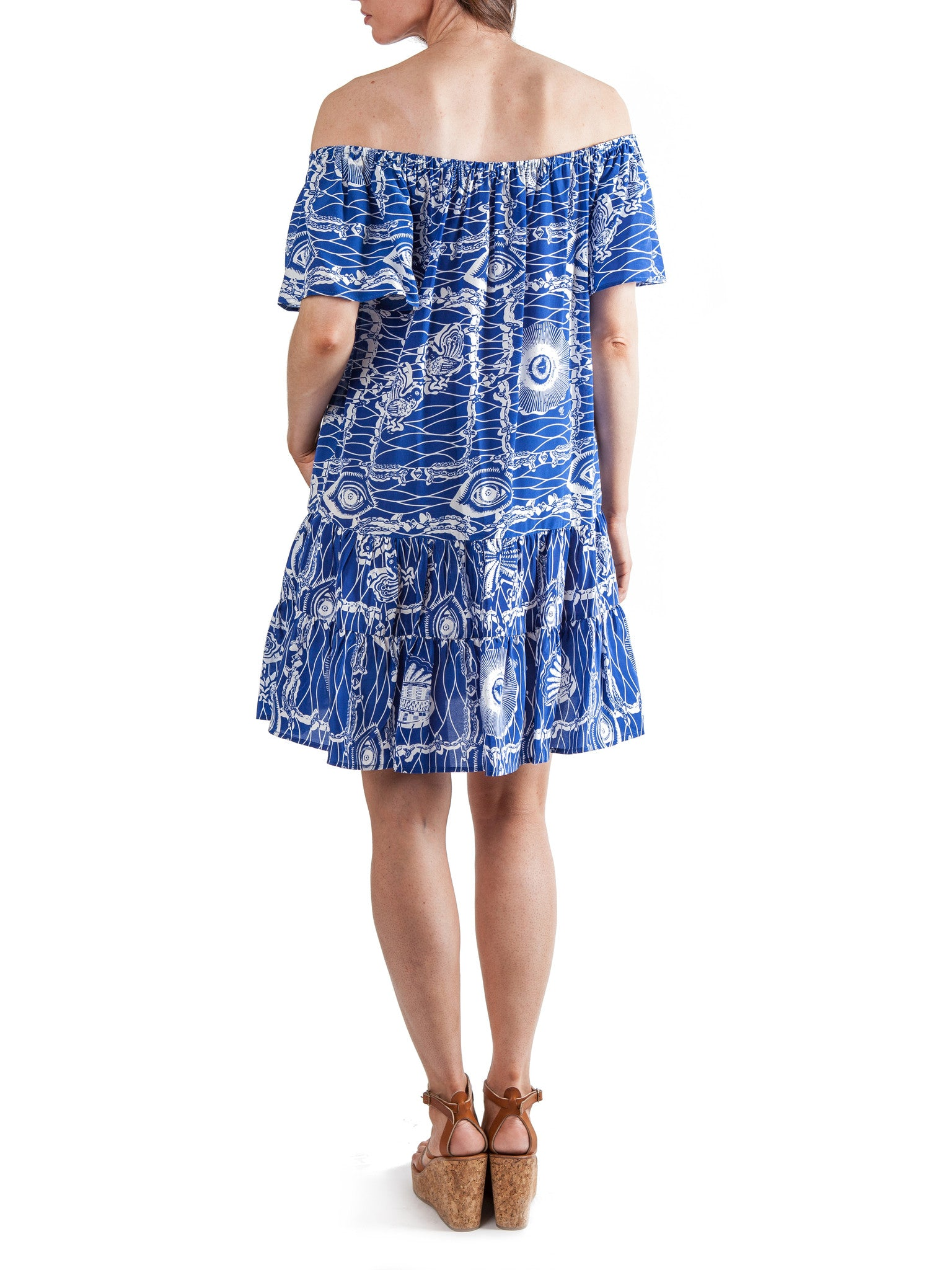 Printed short ruffled dress | Silk Crepe de Chine