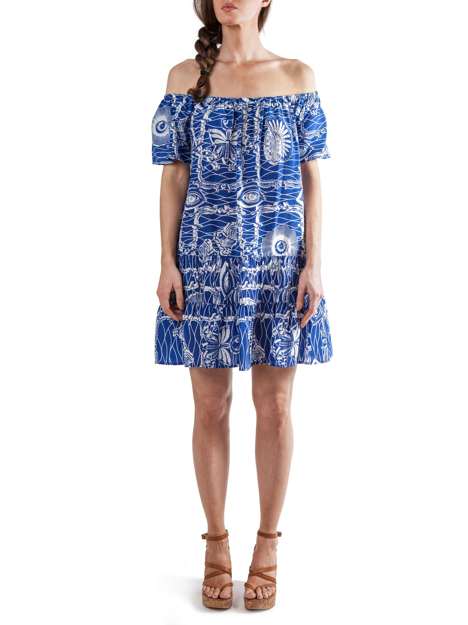 <b>Printed short ruffled dress</b><br><i>Silk Crepe de Chine</i>
