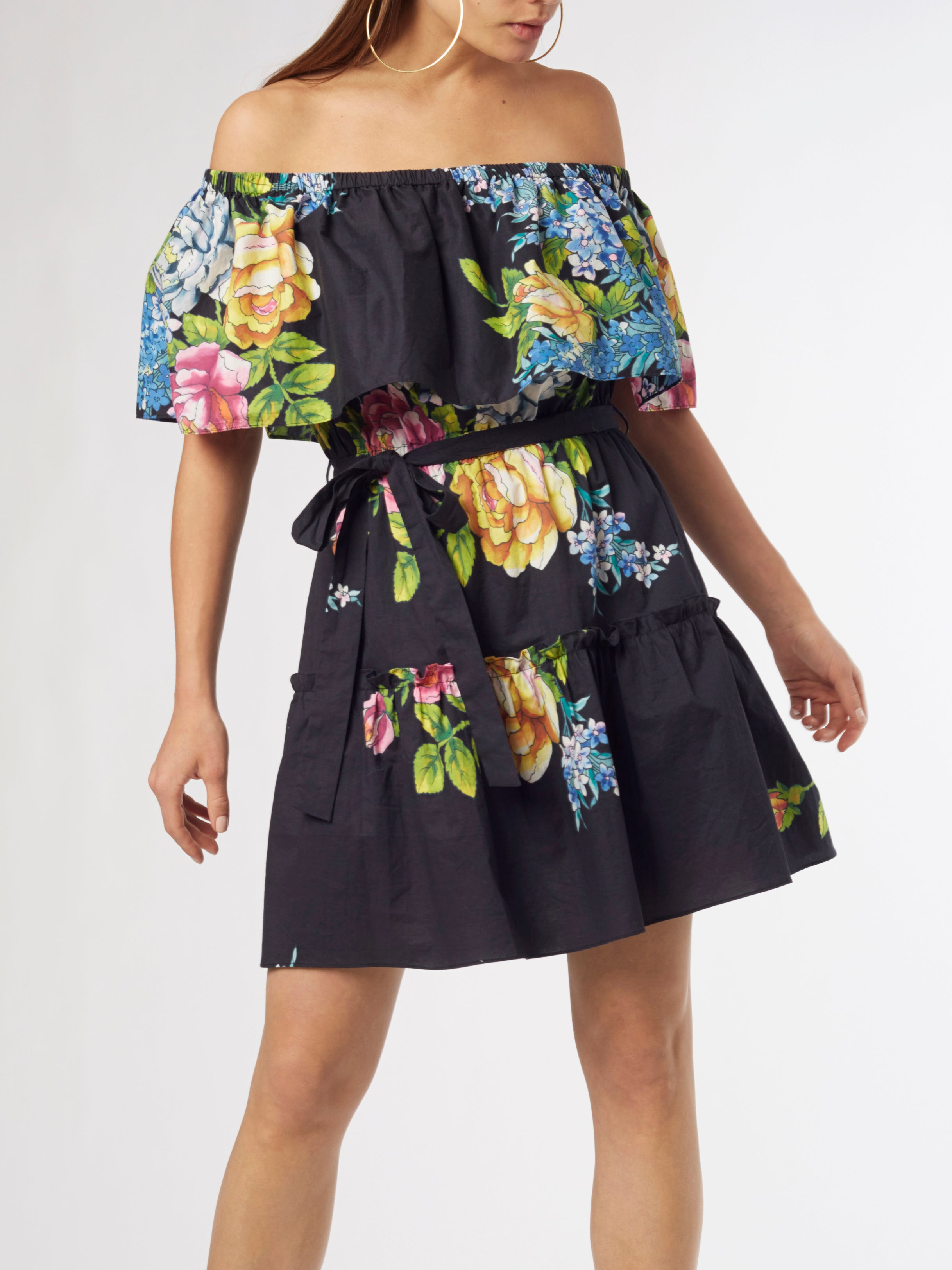 <b>Toucan Printed Short Kaftan</b><br><i>Silk Crepe de Chine</i>