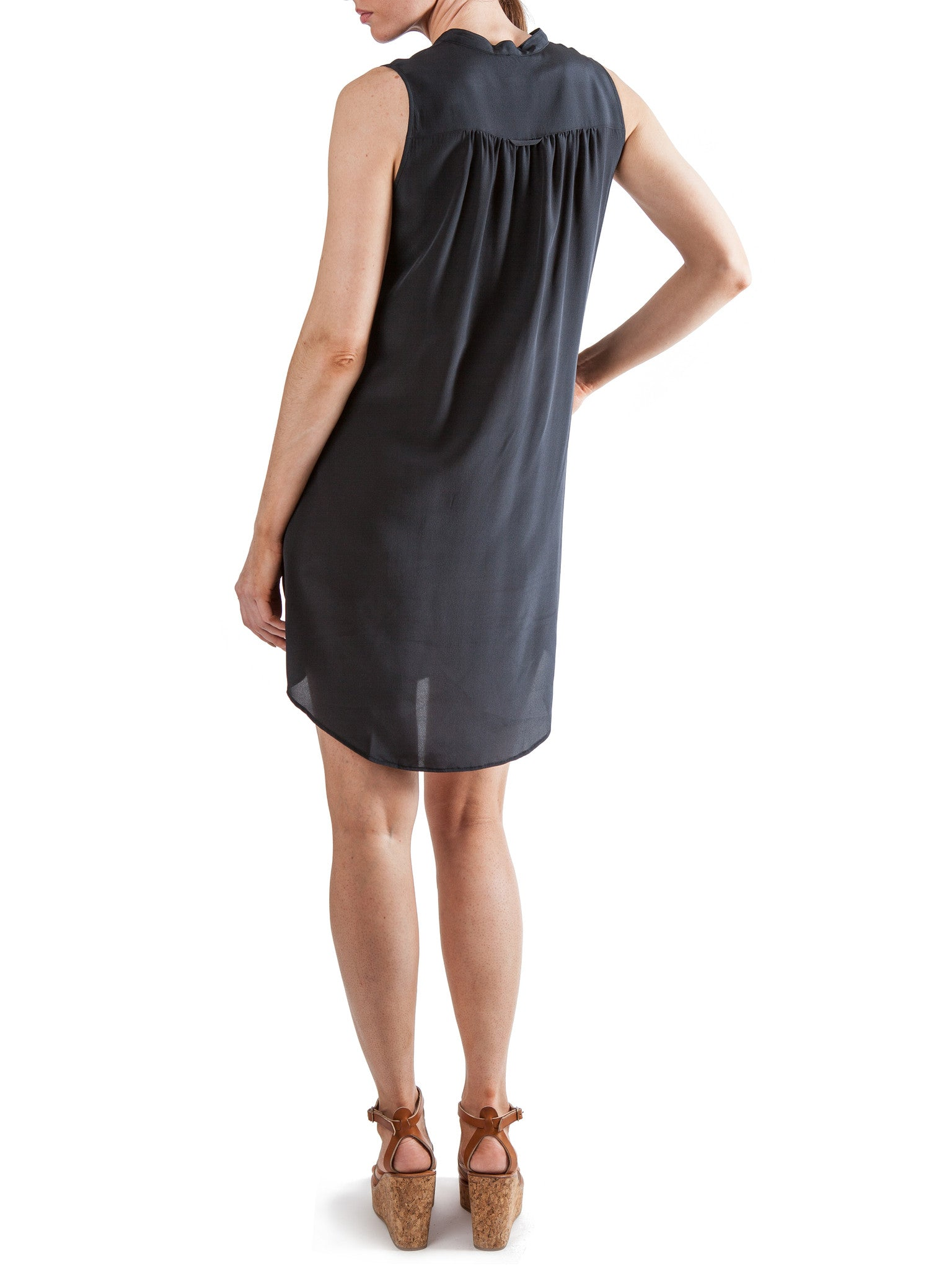 Black sleeveless short dress | Silk Crepe de Chine