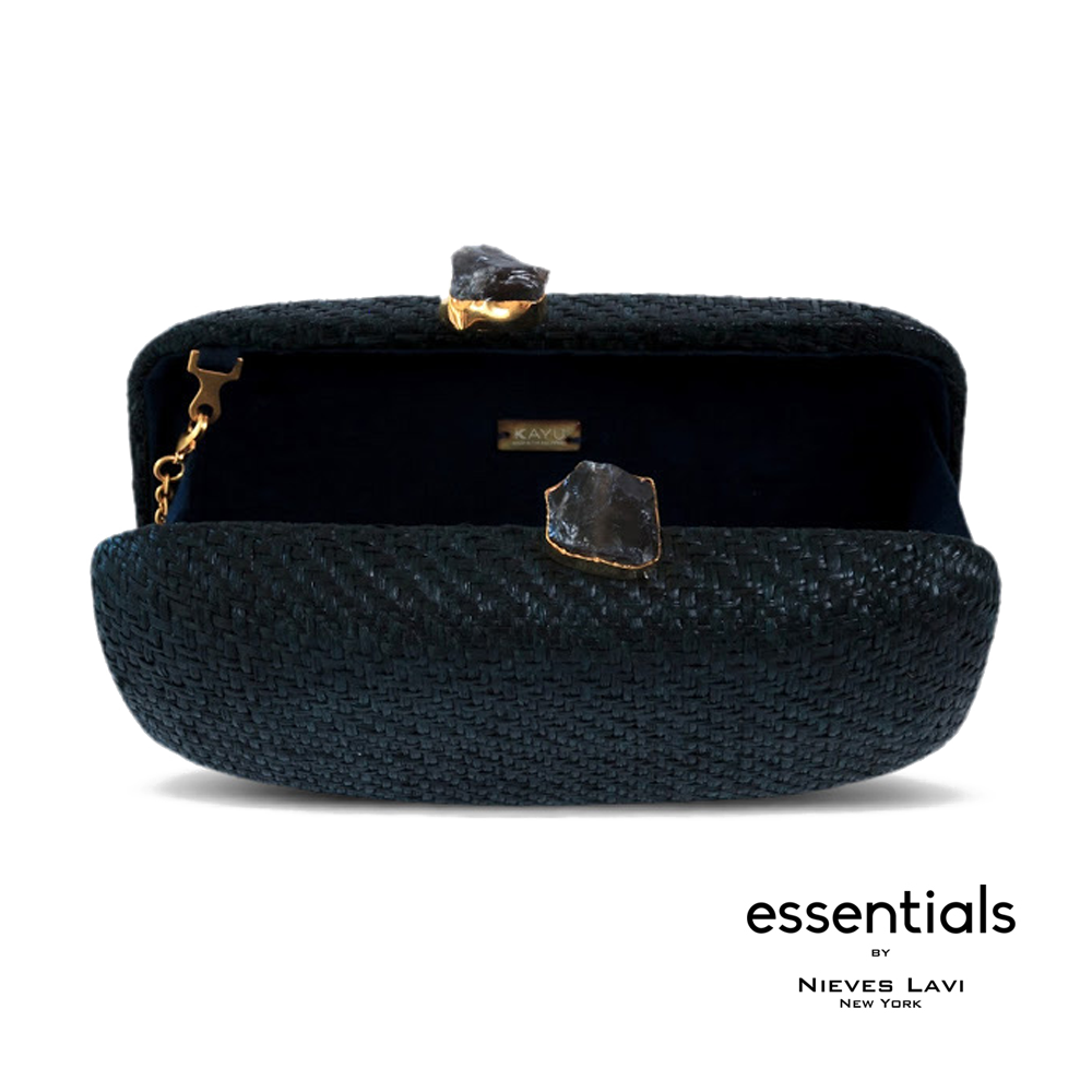 Kayu | Anna Straw Black Clutch