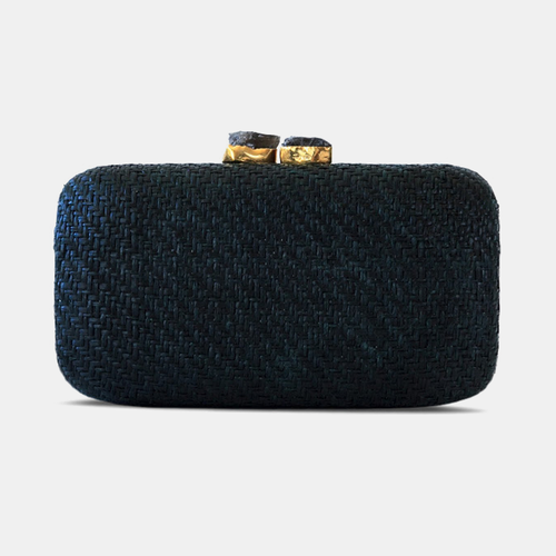 Kayu | Anna Straw Black Handbag