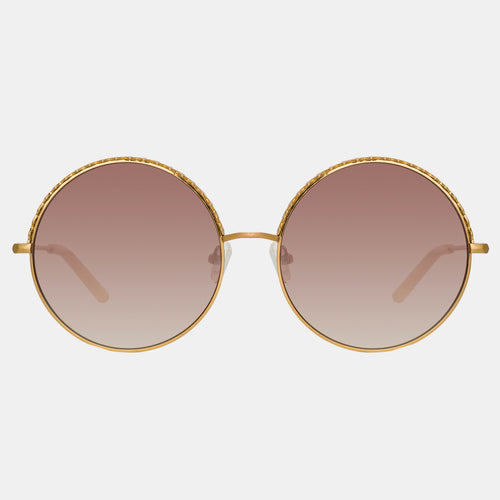 Linda Farrow | Gold/Pink/Brown Geranium Sunglasses