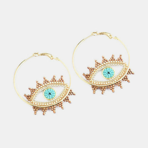 <b>Evil Eye Hoop Earrings</b>