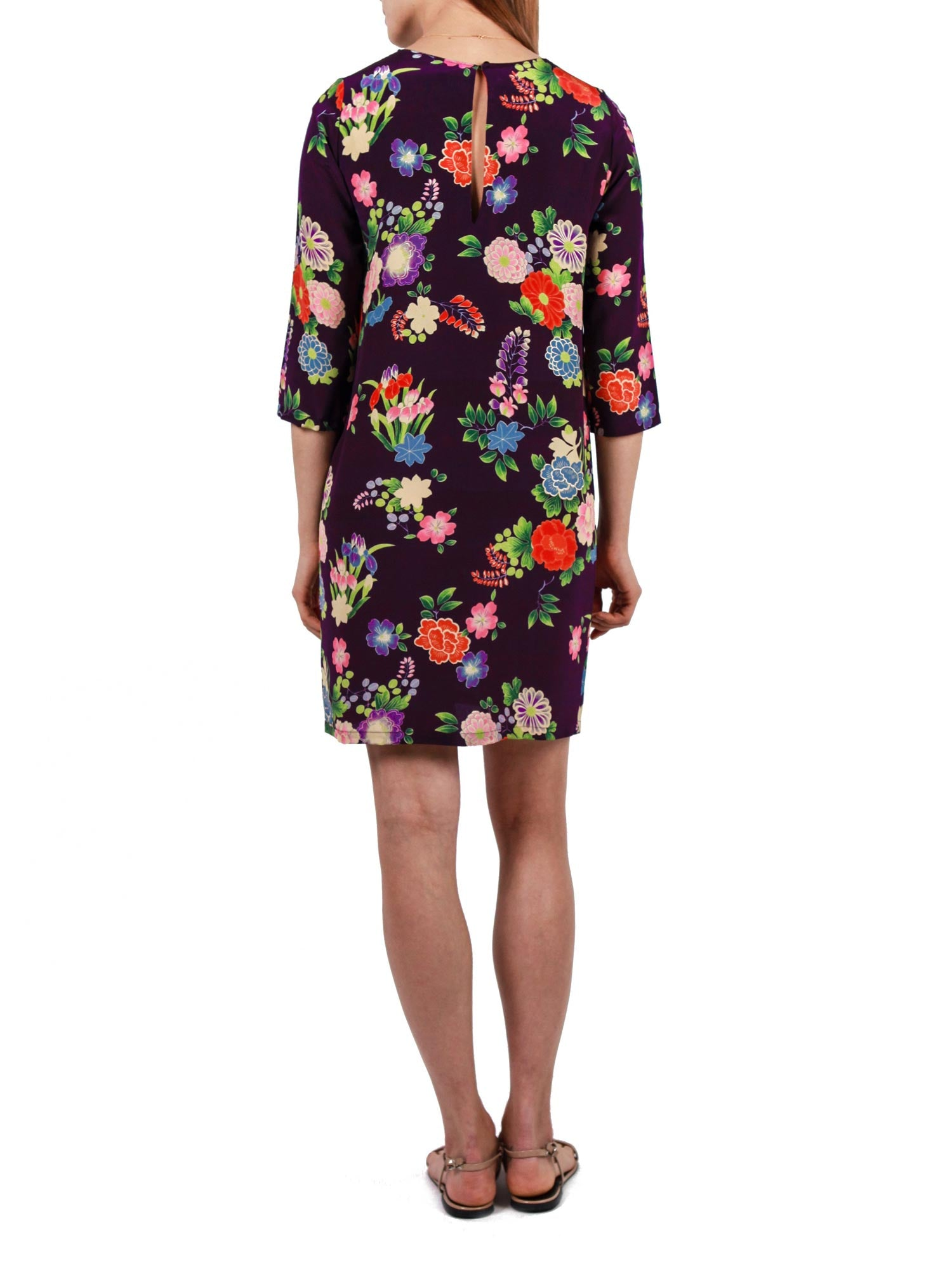 Printed short dress | Silk Crepe de Chine