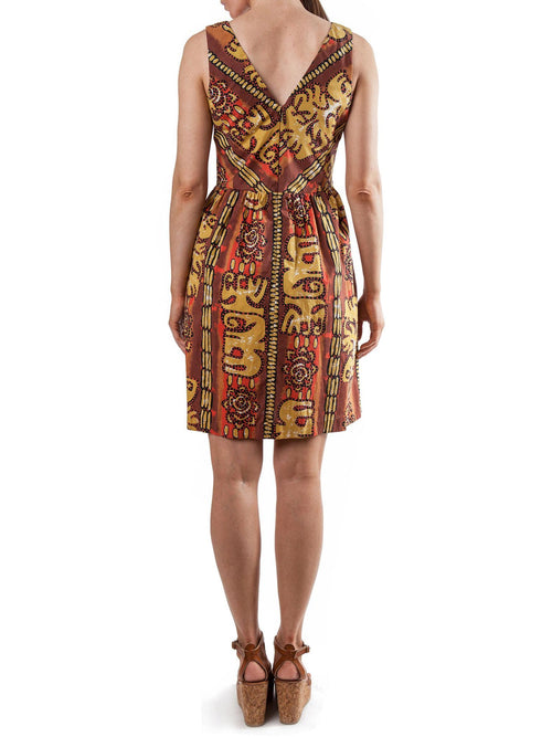 Printed sleeveless dress | Cotton