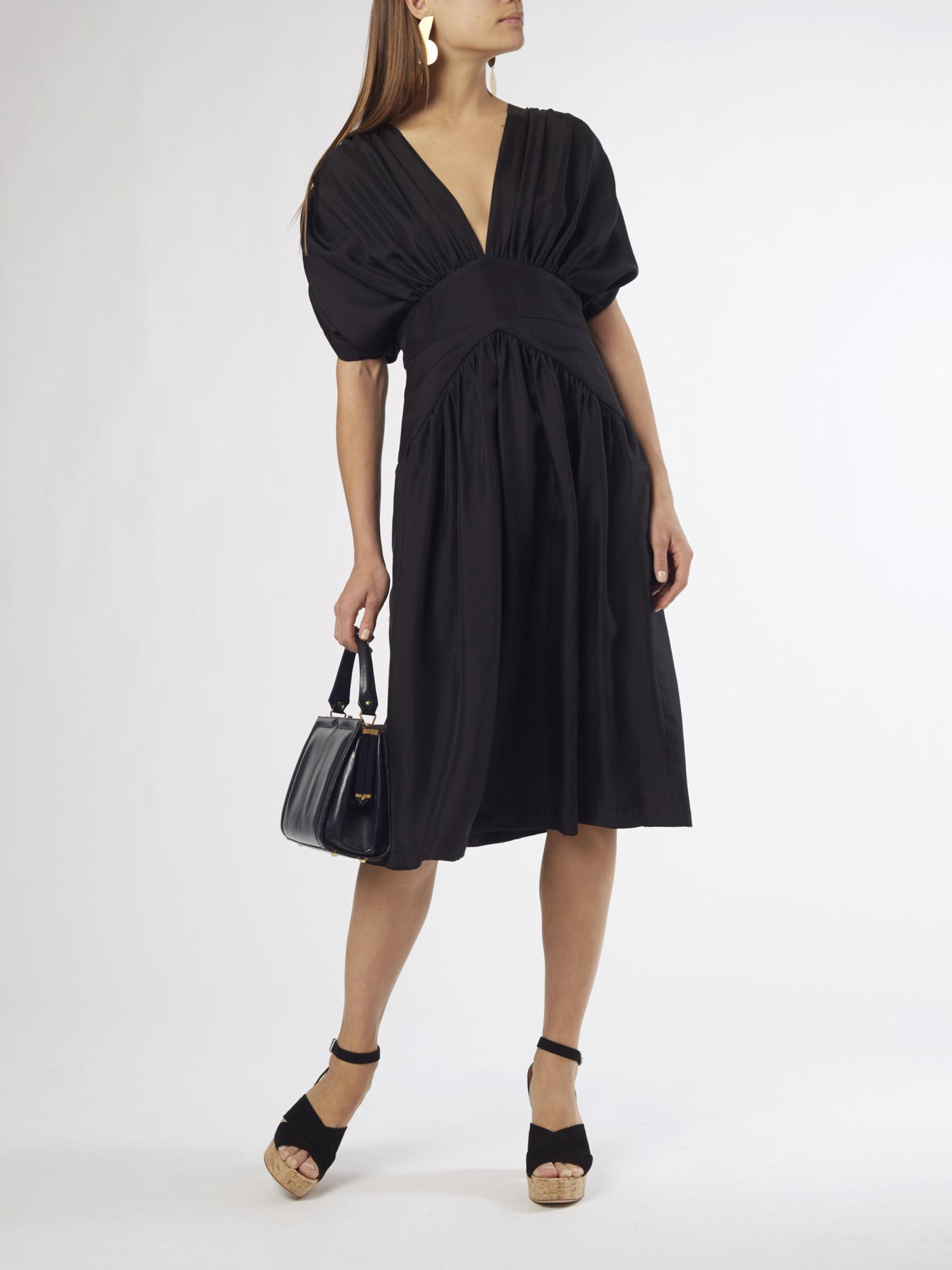 Black Midi Dress | Silk Twill