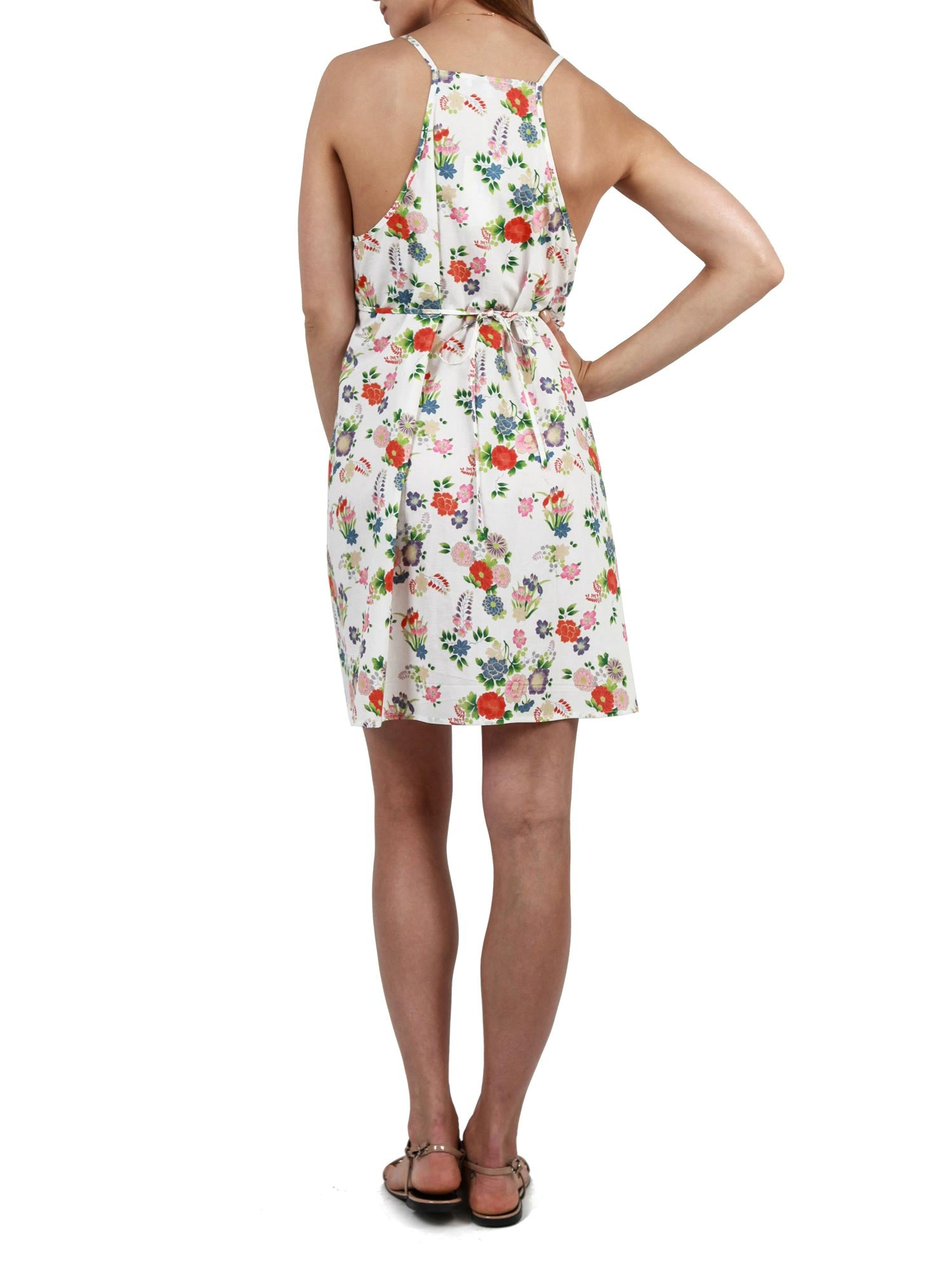 Printed sleeveless short dress | Cotton