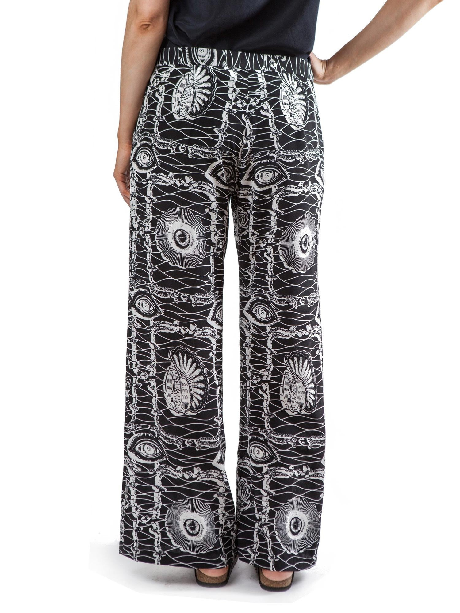 Eye Print pants | Silk Crepe de Chine