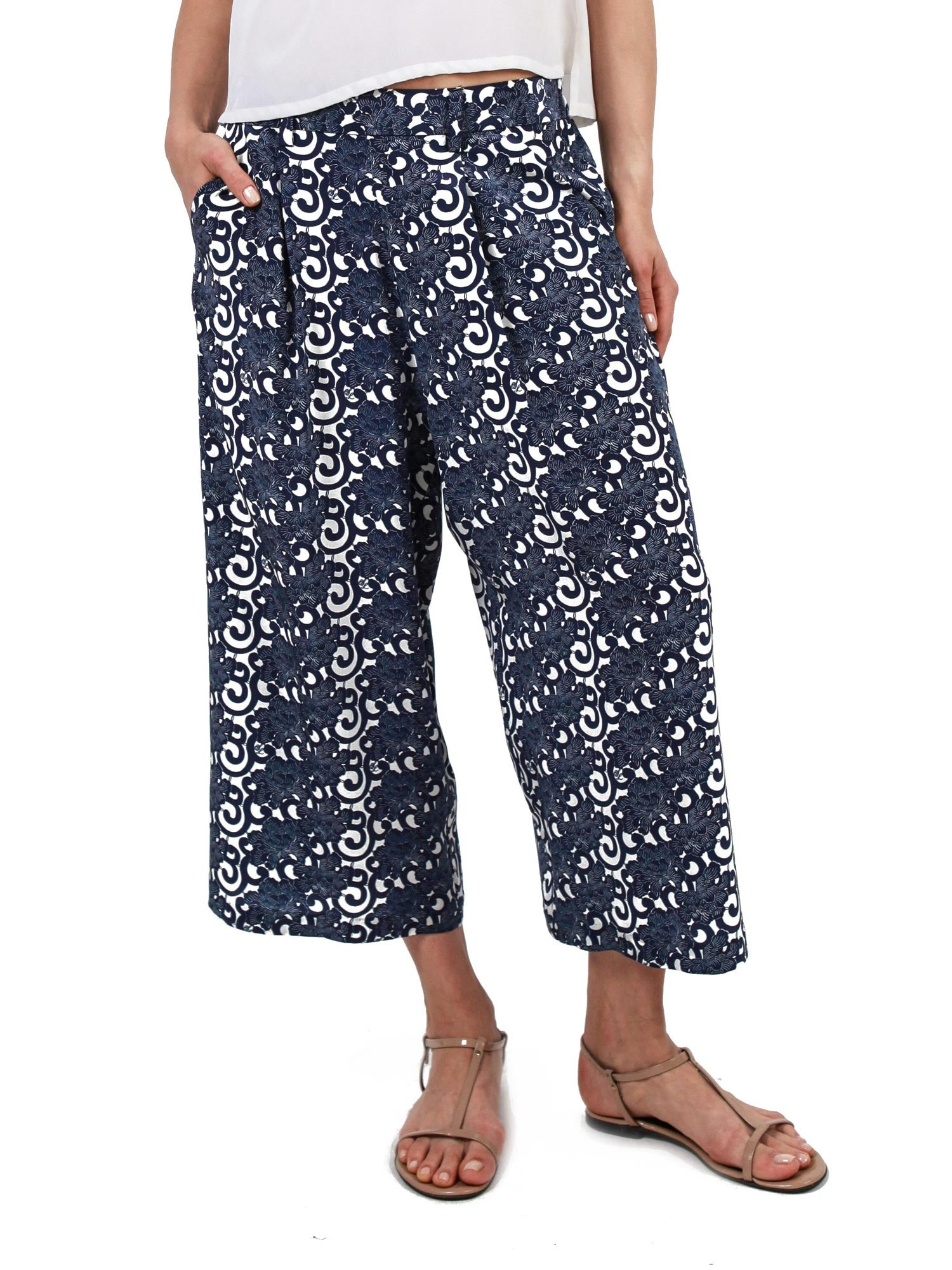 Printed cropped pants | Silk Crepe de Chine