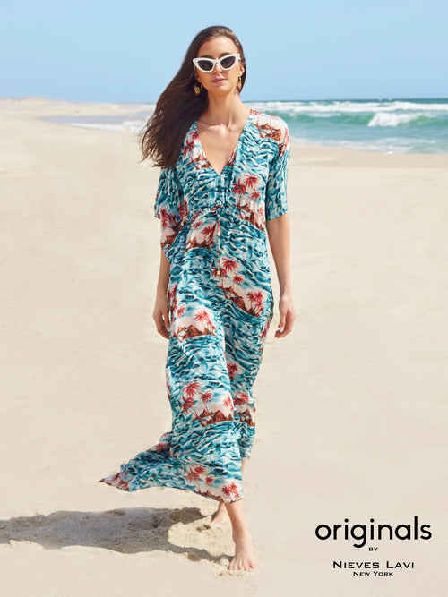 <b>Salma Kaftan Dress</b> | <b>Hawaii Print<b>