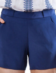 Navy shorts | Silk Crepe de Chine