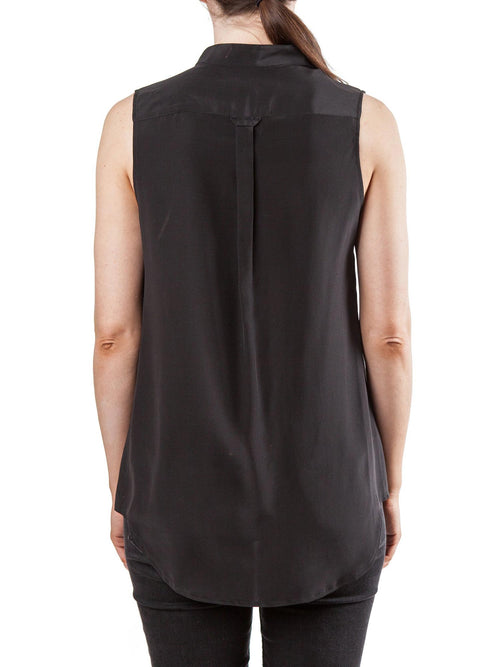 Black sleeveless top | Silk Crepe de Chine