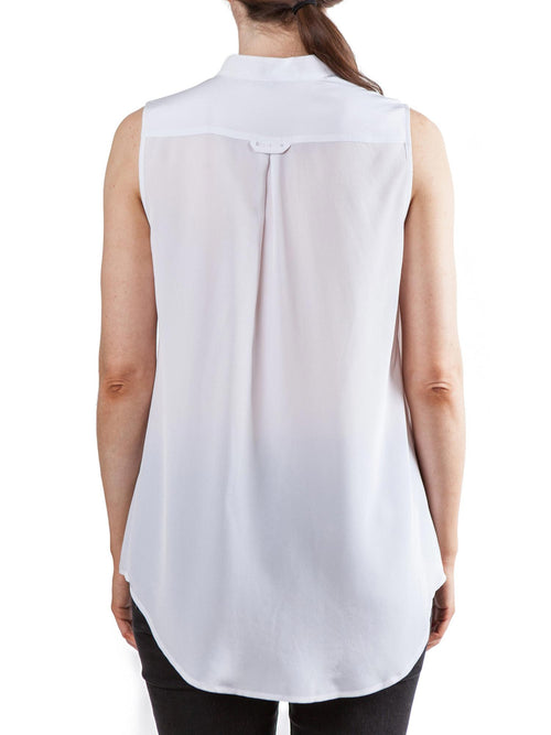 <b>White sleeveless top</b><br><i>Silk Crepe de Chine</i>