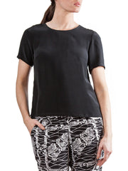 Black t-shirt | Silk Crepe de Chine