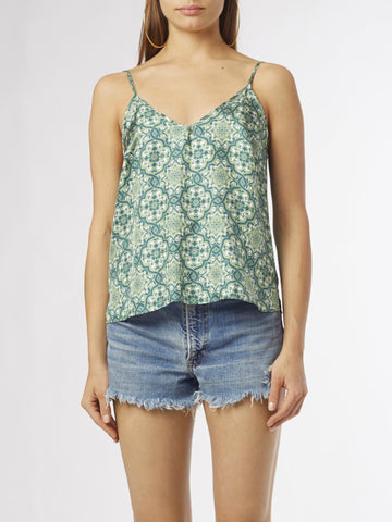 Eye Print tank top | Silk Crepe de Chine