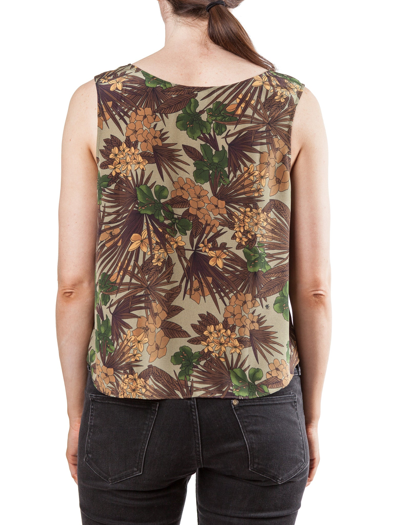 Printed tank top | Silk Crepe de Chine