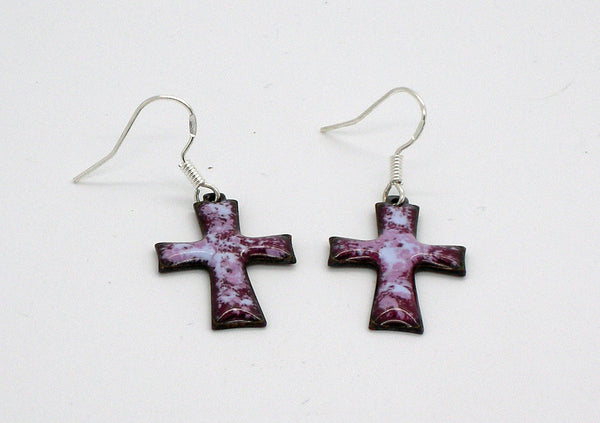Handmade enamelled glass earrings