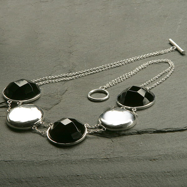 Onyx Faceted Coin Necklace