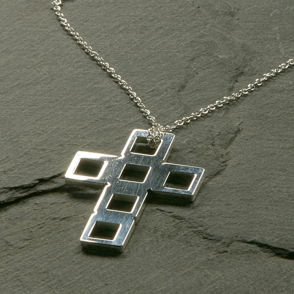 Concentric Squares Cross Necklace