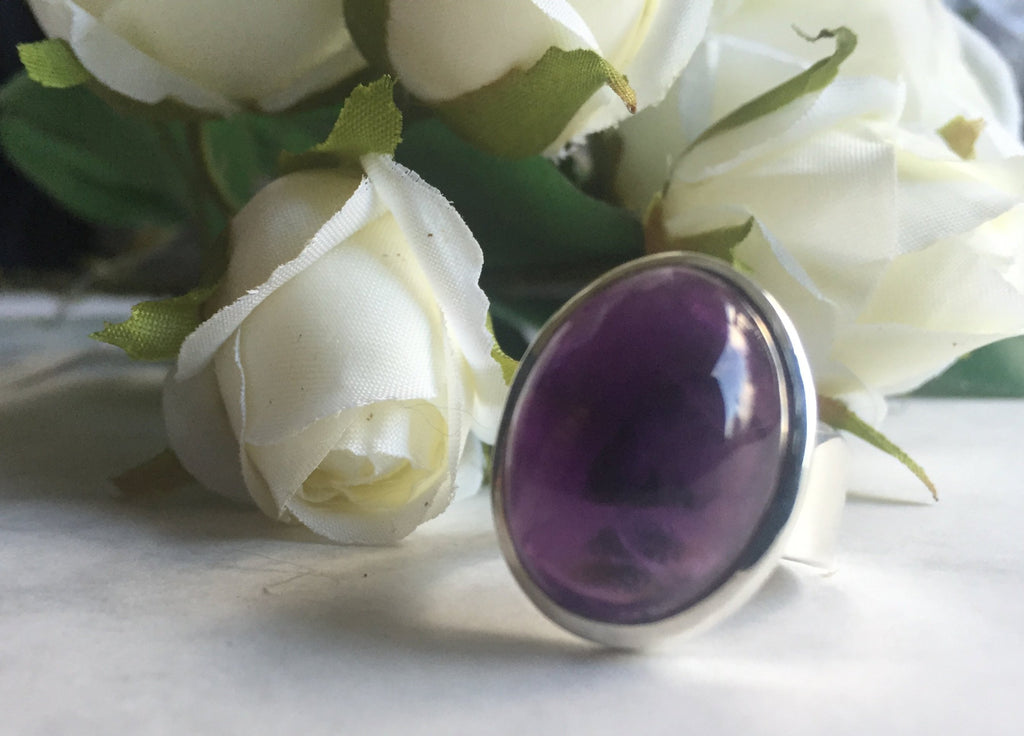 Amethyst 925 sterling silver ring - Size N