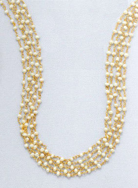 14K Gold over Sterling Multi-Strand Freshwater Pearl Necklace