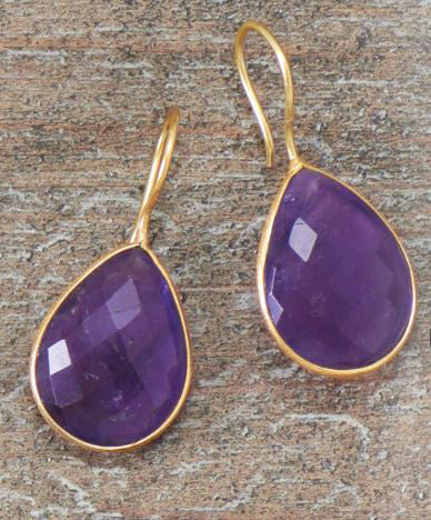 14kt Gold Over Sterling Amethyst Drop Earrings