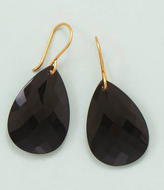 14K Gold over Sterling Black Onyx Faceted Drop Earrings