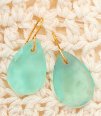 14K Gold over Sterling Chalcedony Faceted Drop Earrings