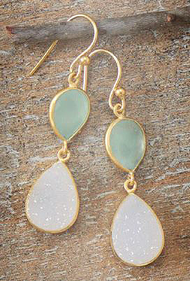 14K Gold Over Sterling Earrings with Green Chalcedony and Druzy