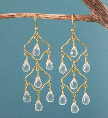 14K Gold Over Sterling Clear Quartz Chandelier Earrings