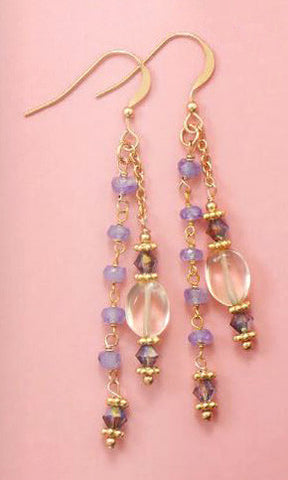 14K Gold over Sterling Tanzanite and Citrine Bead Earrings