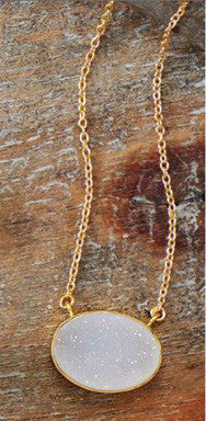"16"" + 2"" 14K Gold Over Sterling White Druzy Necklace"