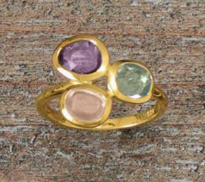14K Gold Over Sterling Ring with Amethyst, Topaz & Quartz