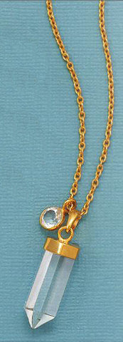 14K Gold Over Sterling Clear Quartz Drop Necklace