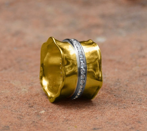 14K Gold Over Sterling Band Ring with CZs