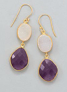 14K Gold Over Sterling Amethyst and Druzy Drop Earrings