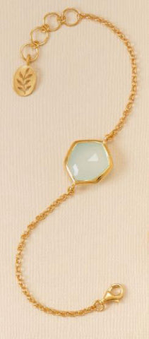 14K Gold Over Sterling Green Chalcedony Bracelet