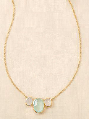 14K Gold Over Sterling Oval Chalcedony Necklace