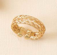 14K Gold Over Sterling Double Woven Band Ring