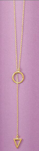 14K Gold Over Sterling Multi Shape Lariat Necklace