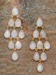 14 Kt Gold Over Sterling Rainbow Moonstone Chandelier Earrings